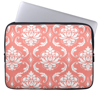 Coral Pink White Classic Damask Pattern Laptop Sleeve