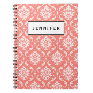 Coral Pink White Classic Damask Pattern Notebooks