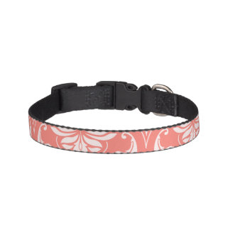 Coral Pink White Classic Damask Pattern Pet Collar