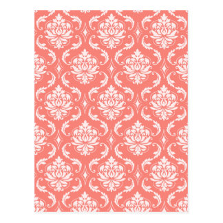 Coral Pink White Classic Damask Pattern Post Card