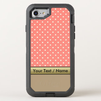 Coral Pink White Polka Dots On Starfish Brown OtterBox Defender iPhone 7 Case