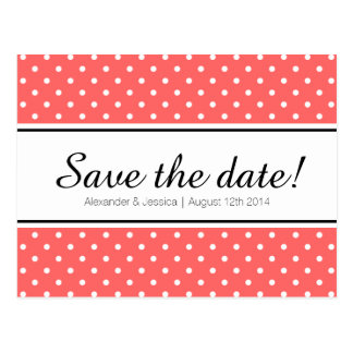 Coral pink & white polkadot save the date postcard