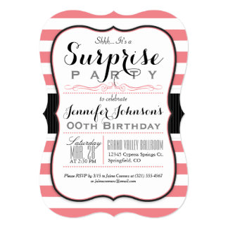 Coral Pink & White Stripes Surprise Party 13 Cm X 18 Cm Invitation Card