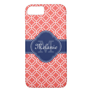 Coral Pink Wht Moroccan Pattern Navy Monogram iPhone 8/7 Case