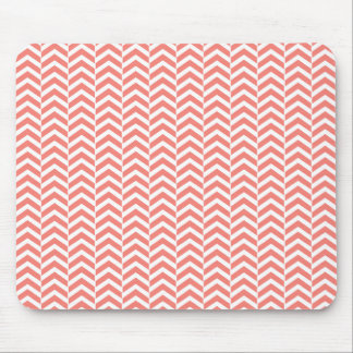 Coral Pink with Teal Chevron Pattern Mouse Mat