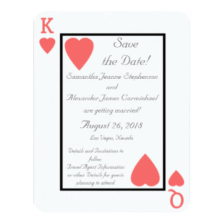 Coral Playing Card King/Queen Save the Date 11 Cm X 14 Cm Invitation Card