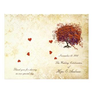Coral Plum Heart Leaf Tree Gold Wedding Program Flyer