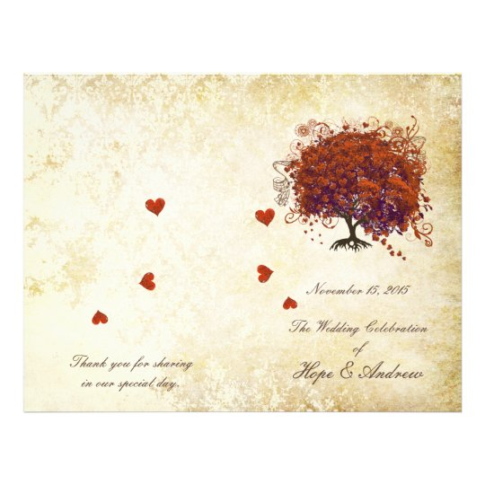 Coral Plum Heart Leaf Tree Gold Wedding Program
