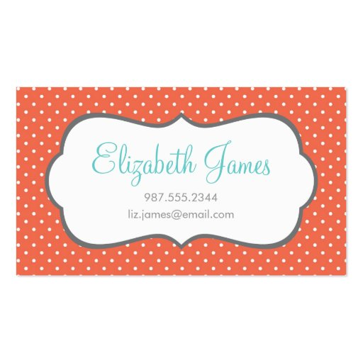 coral polka dot double sided standard business cards pack With polka dot business card templates free
