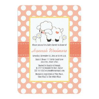 Coral Polka Dot Lamb Baby Shower 13 Cm X 18 Cm Invitation Card