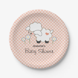 Coral Polka Dot Lamb Baby Shower 7 Inch Paper Plate
