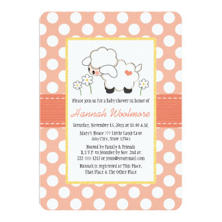 Coral Polka Dot Lamb Baby Shower Card
