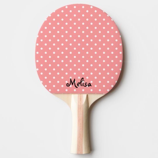 Coral polka dots ping pong paddle for table