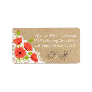 Coral Poppies and Lace Rustic Wedding Label Address Label