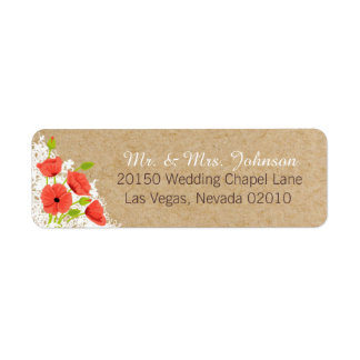 Coral Poppies and Lace Rustic Wedding Label Return Address Label