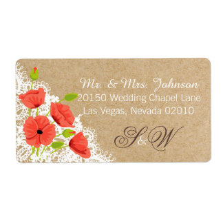 Coral Poppies and Lace Rustic Wedding Label Shipping Label
