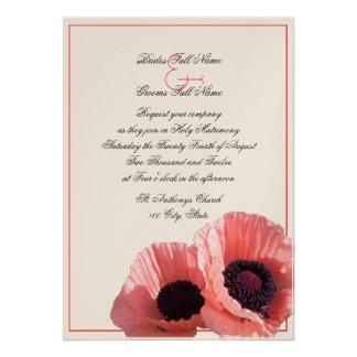 Coral Poppies Invites