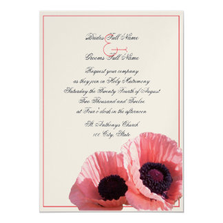 Coral Poppies 5x7 Paper Invitation Card