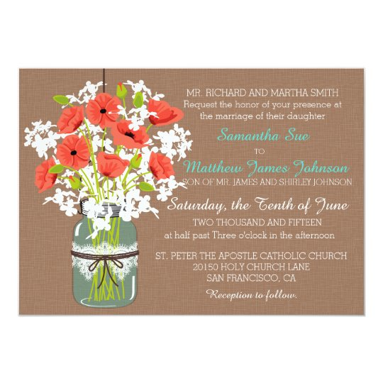 Coral Poppies Mason Jar Burlap Rustic Wedding Card