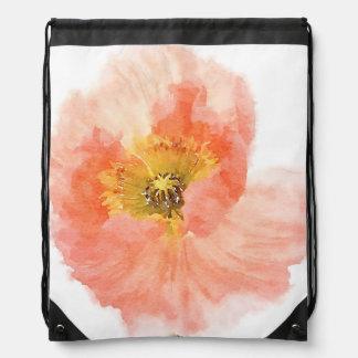 Coral Poppy Drawstring Bag