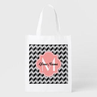 Coral Quatrefoil Monogram Reusable Grocery Bag