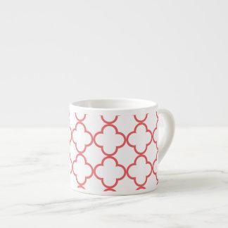 Coral Quatrefoil Pattern Espresso Cup