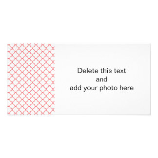 Coral Quatrefoil Pattern Photo Greeting Card