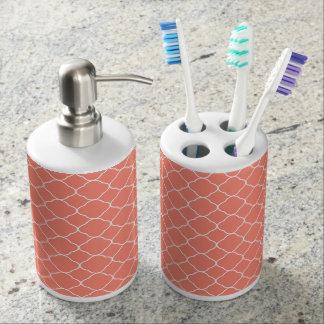 Coral Quatrefoil Pattern Soap Dispenser And Toothbrush Holder