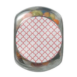 Coral Quatrefoil Pattern Glass Jar