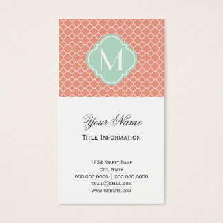 Coral Quatrefoil Pattern with Monogram Business Card