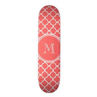 Coral Quatrefoil Pattern, Your Monogram Skateboard Deck
