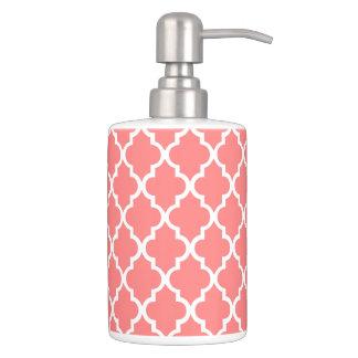 Coral Quatrefoil Tiles Pattern Bathroom Set
