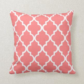 Coral Quatrefoil Tiles Pattern Cushion