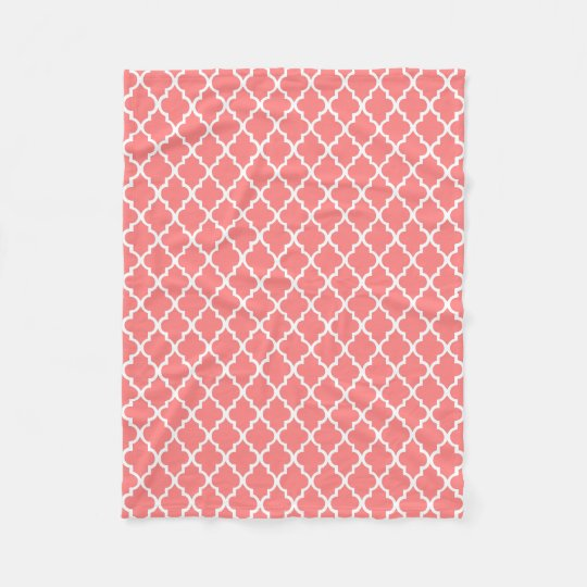Coral Quatrefoil Tiles Pattern Fleece Blanket