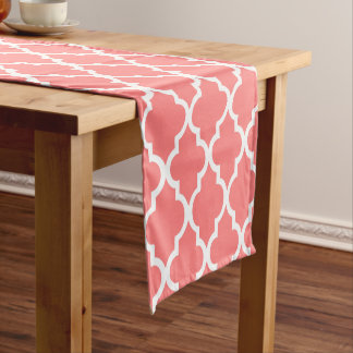 Coral Quatrefoil Tiles Pattern Short Table Runner