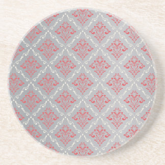 Coral Red and Cream Damask on Silver Gray Coaster