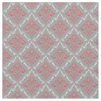 Coral Red and Cream Damask on Silver Gray Fabric