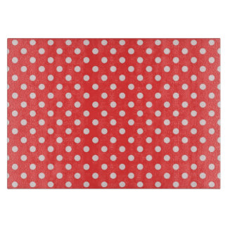 Coral Red and White Polka Dot Pattern Cutting Board