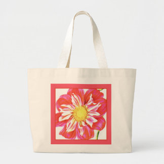 Coral red and white striped dahlia print tote bags