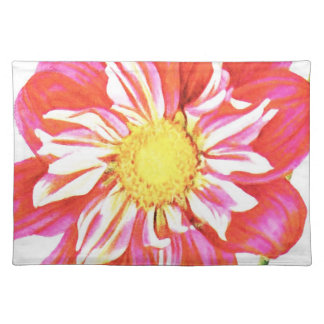 Coral red and white striped dahlia print place mat