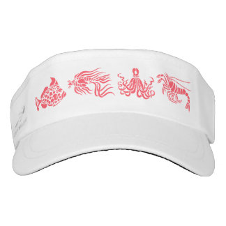 Coral Red Assorted Fish & Water Animals Visor