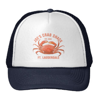 Coral Red Blue Sea Crab Illustration Cap