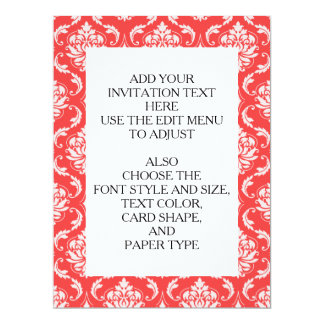 Coral Red Classic Damask Pattern 17 Cm X 22 Cm Invitation Card