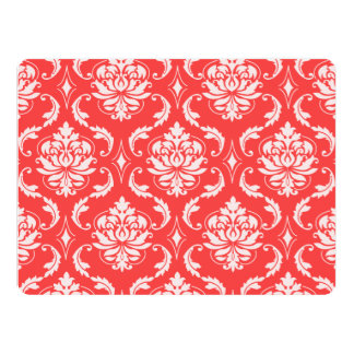 """Coral Red Classic Damask Pattern 6.5"""" X 8.75"""" Invitation Card"""