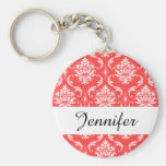 Coral Red Classic Damask Pattern Basic Round Button Key Ring