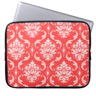 Coral Red Classic Damask Pattern Laptop Sleeve