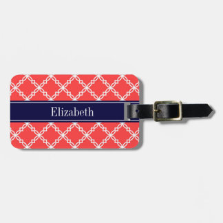 Coral Red Fancy Quatrefoil Navy Name Monogram Luggage Tag