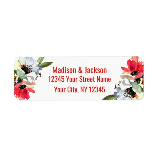 Coral Red Floral Wedding Couple Return Address