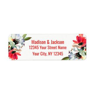 Coral Red Floral Wedding Couple Return Address Return Address Label