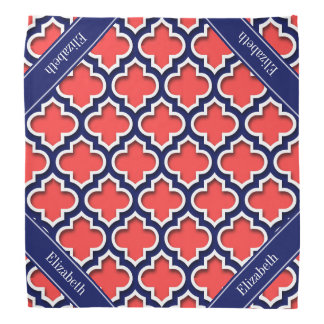 Coral Red Navy 5c Moroccan #5DS Navy Name Monogram Bandana